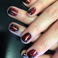 Nails red black